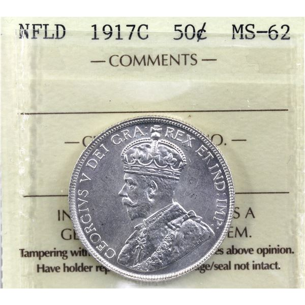 Newfoundland  50-cent 1917C ICCS Certified MS-62.