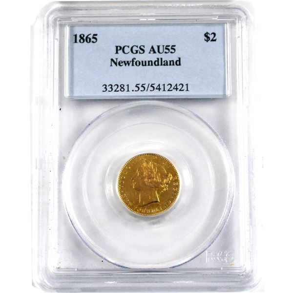 Newfoundland $2 Gold 1865 PCGS Certified AU-55. A Nice first year example of this highly sought afte