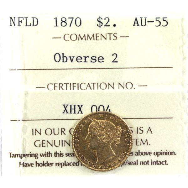 Newfoundland $2 Gold 1870 Obverse 2 ICCS Certified AU-55.