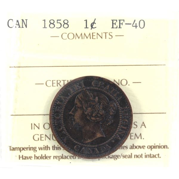 1-cent 1858 ICCS Certified EF-40. A deep brown coin with lighter highlights on raised details.