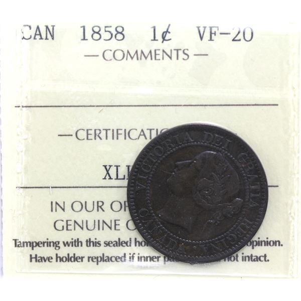 1-cent 1858 ICCS Certified VF-20.