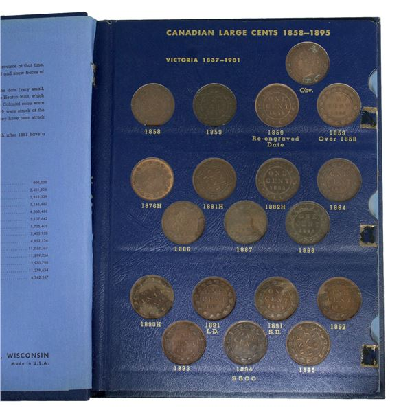1-cent Collection 1858-1920 Large cents in Blue Whitman folder.  Complete Collection! Most coins are