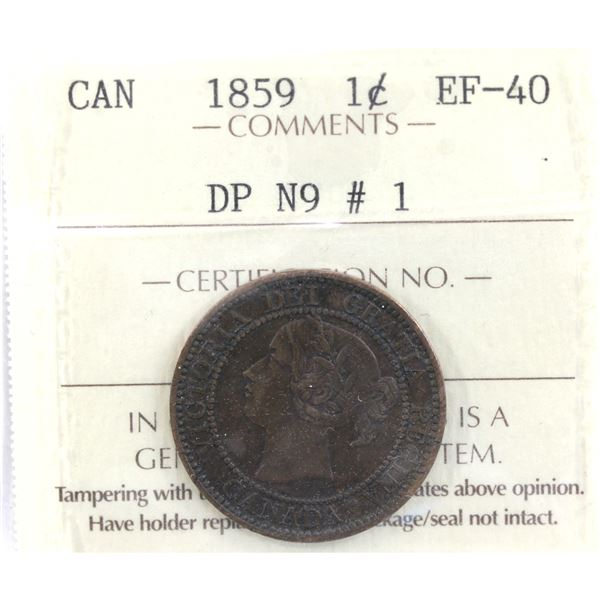 1-cent 1859 DP N9 #1 ICCS Certified EF-40. *Scarce*