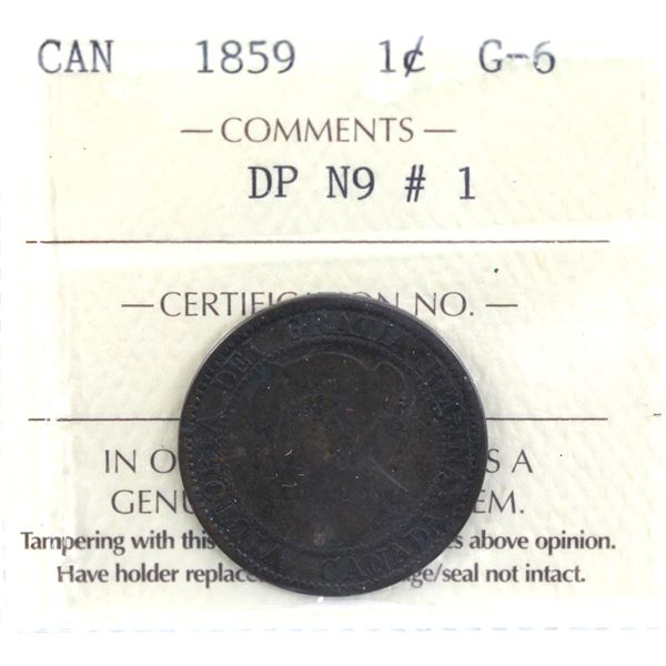 1-cent 1859 DP N9 #1 ICCS Certified G-6 *Scarce Variety*
