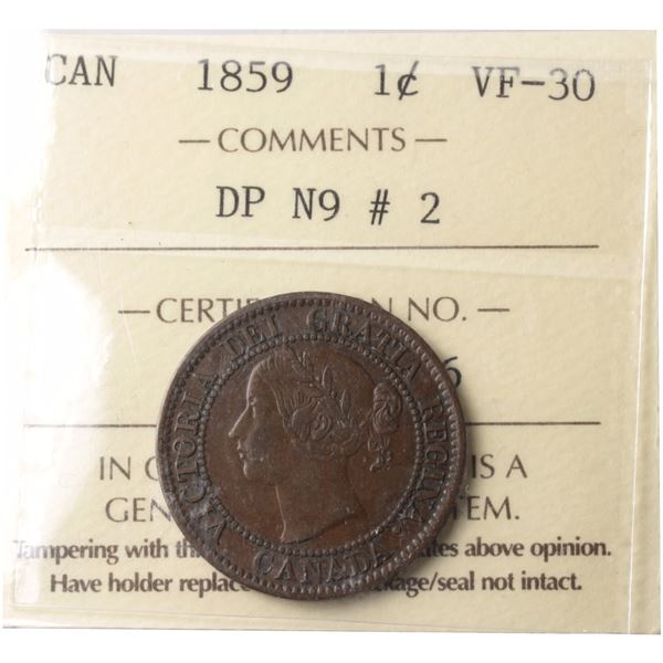 1-cent 1859 DP N9 #2 ICCS Certified VF-30. A deep chocolate brown.