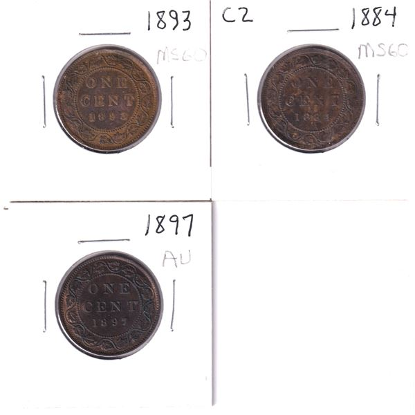 1-cent Lot of 3 Higher Grade Victorian Large Cents. Lot includes: 1884 Obverse 2 AU+ brown, 1893 abo