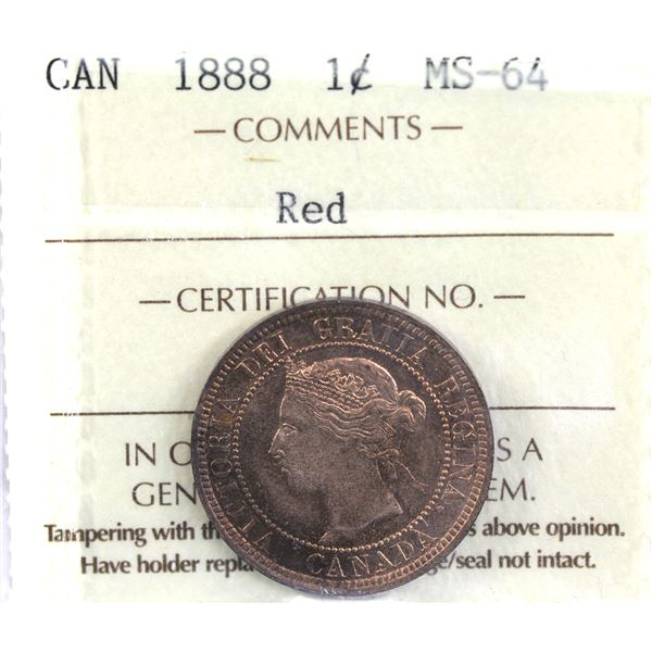 1-cent 1888 ICCS Certified MS-64 Red. Lustrous coin with some light overtones.