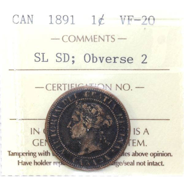 1-cent 1891 SD SL Obverse 2 ICCS Certified VF-20.