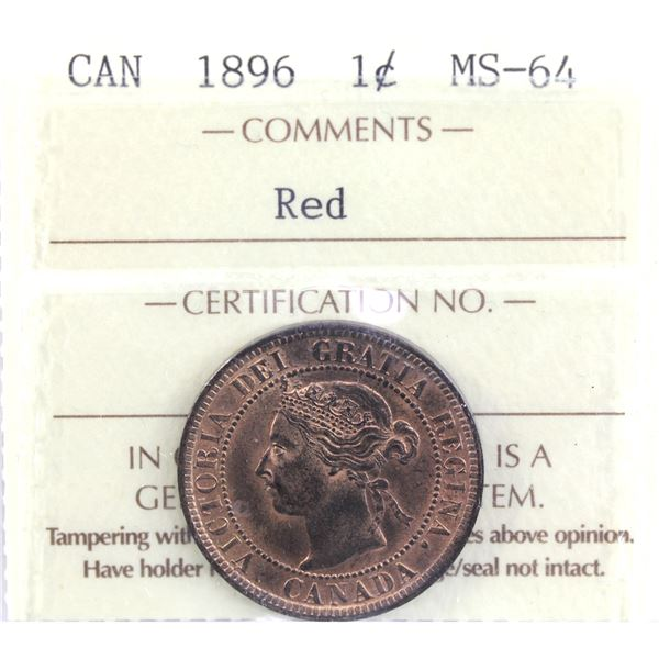 1-cent 1896 ICCS Certified MS-64 Red. A nice evenly toned coin with attractive features.