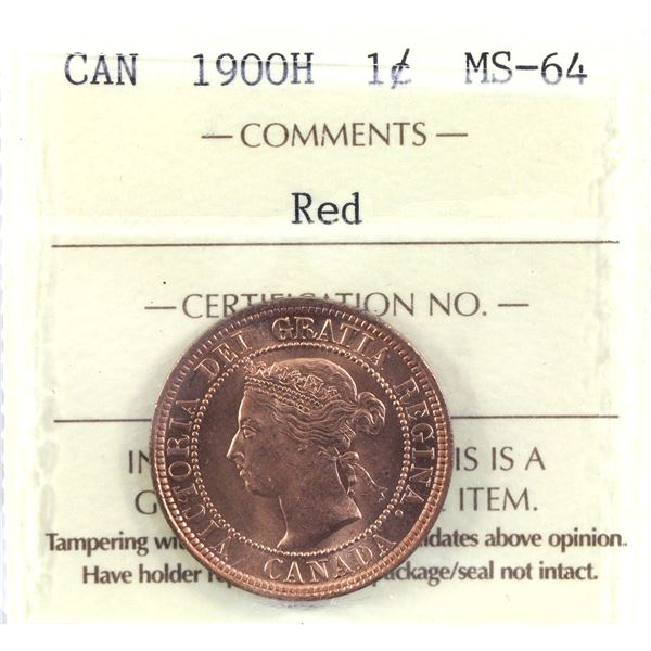 1-cent 1900H ICCS Certified MS-64 Red! A Bright vibrant coin with exceptional eye appeal worth a pre
