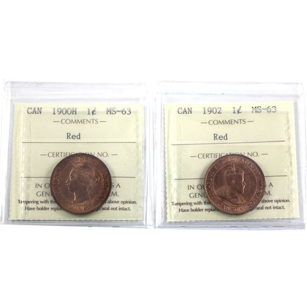 1-cent 1900H & 1902 Both ICCS Certified MS-63 Red! Both great coin with eye appeal expected in highe