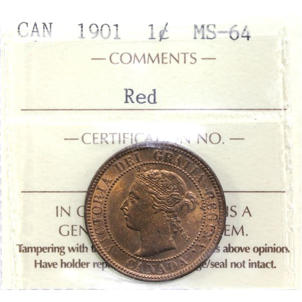 1-cent 1901 ICCS Certified MS-64 RED. A  deep natural red coin.