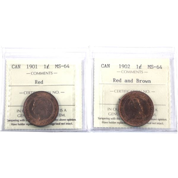 1-cent 1901 & 1902 both ICCS Certified MS-64 Red. A nice complimentary pair representing the last ye