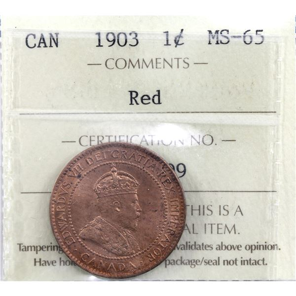 1-cent 1903 ICCS Certified MS-65 Red. Light soft tones throughout.