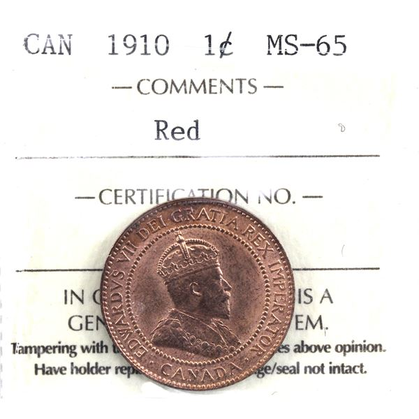 1-cent 1910 ICCS Certified MS-65 Red. Low Pop!