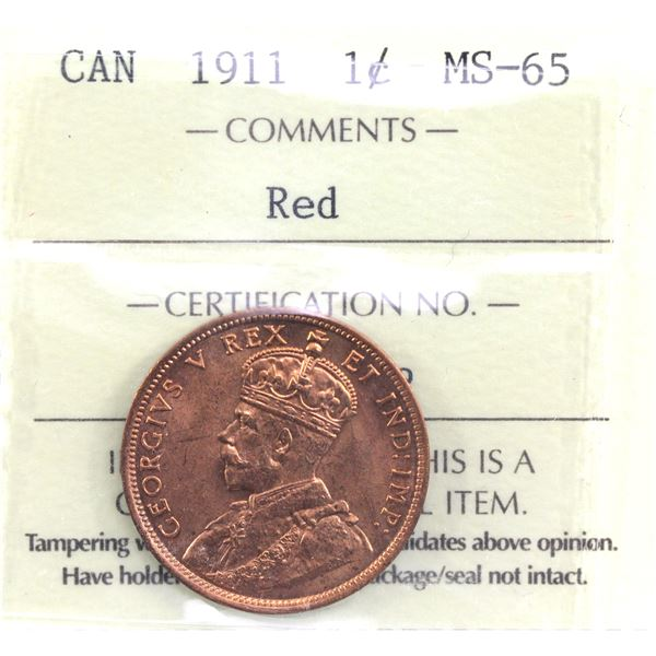 1-cent 1911 1-cent ICCS Certified MS-65 Red. An exceptional strike coin with choice eye appeal!