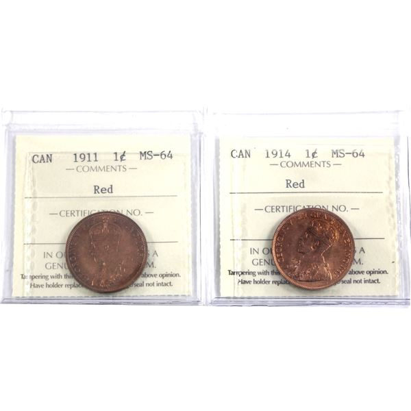 1-cent 1911 & 1914 Both ICCS Certified MS-64 Red! Deeper red tones on the 1911, the 1914 is a flashy