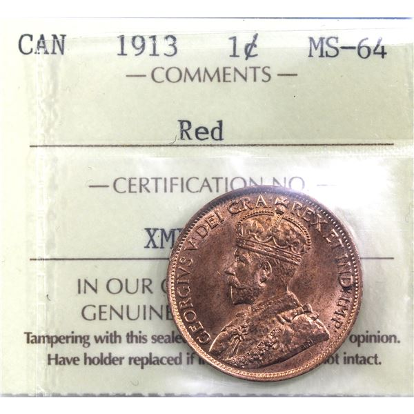 1-cent 1913 ICCS Certified MS-64 Red. A brightly lit coin with great eye appeal.