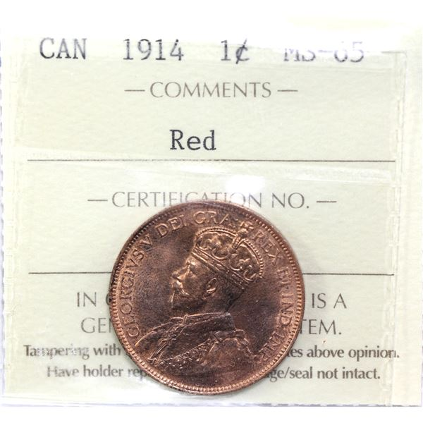 1-cent 1914 ICCS Certified MS-65 Red.
