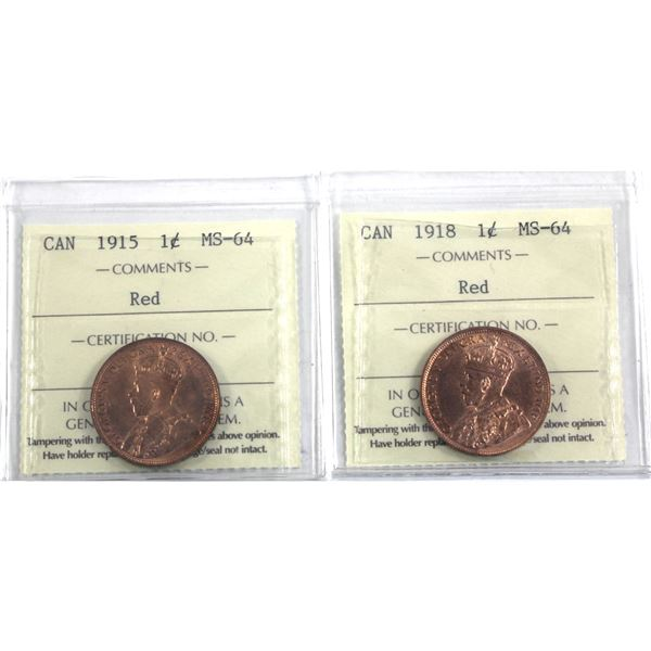 1-cent 1915 & 1918 1-cent Both ICCS Certified MS-64 Red. Both attractive near full red strikes. 2pcs