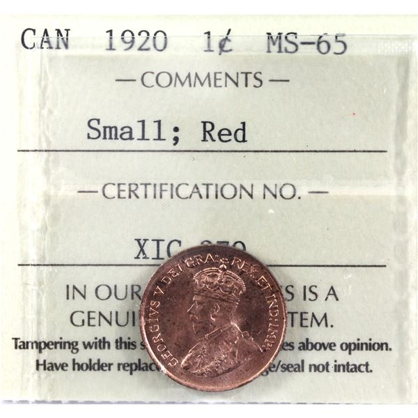 1-cent 1920 Small ICCS Certified MS-65 Red. Nice radiant luster!