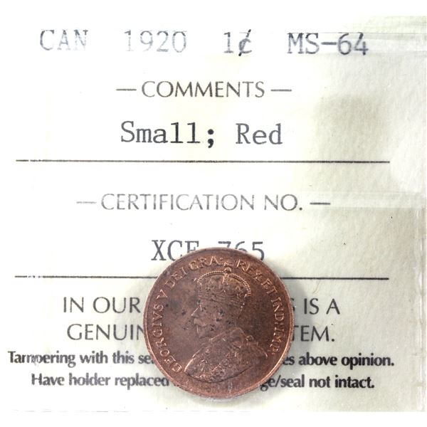 1-cent 1920 Small ICCS Certified MS-64 Red.