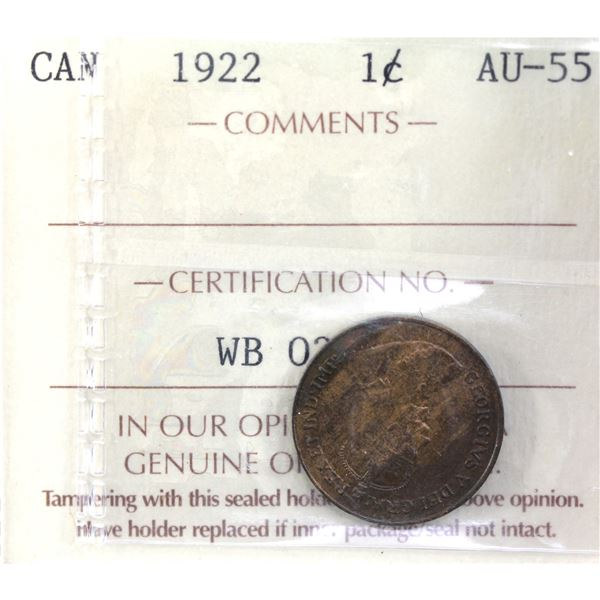 1-cent 1922 ICCS Certified AU-55. *Key Date*