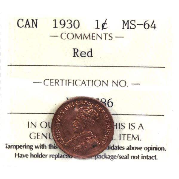 1-cent 1930 ICCS Certified MS-64 Red. Deep cherry red tones throughout with radiant luster.