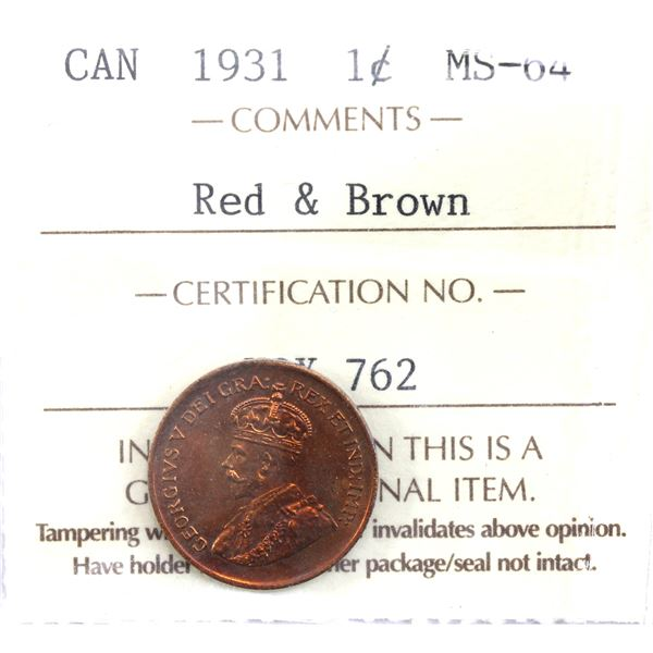 1-cent 1931 ICCS Certified MS-64 Red & Brown. Deep Cherry red tones with iridescent highlights.