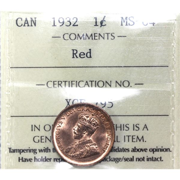 1-cent 1932 ICCS Certified MS-64 Red. Nice bright red colour.