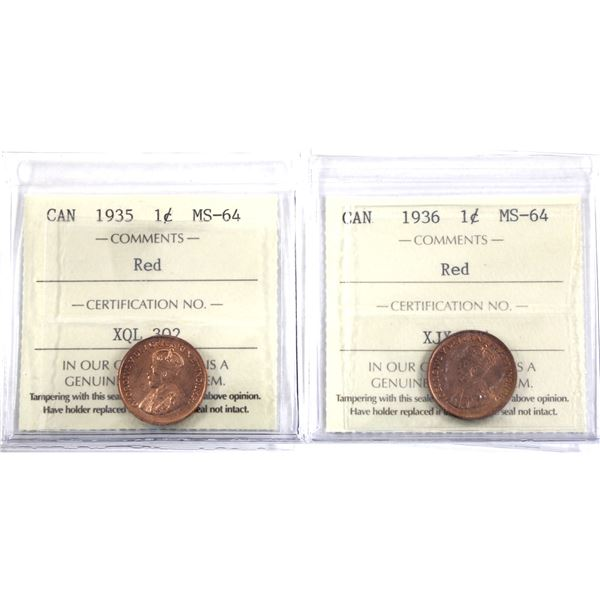 1-cent 1935 & 1936 ICCS Certified MS-64 Red. 2pcs