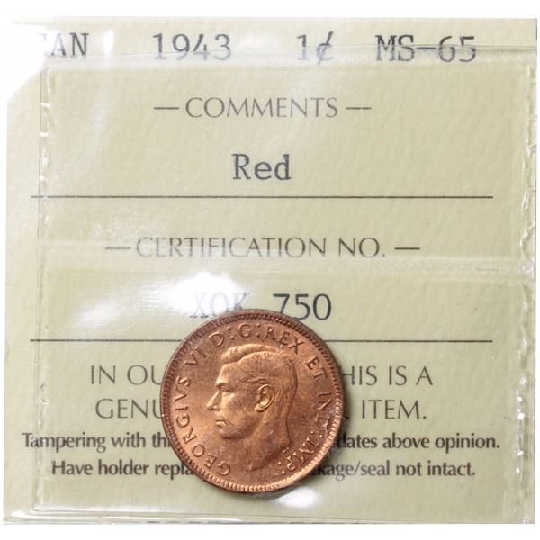 1-cent 1943 ICCS Certified MS-65 Red. A deep natural red coin.