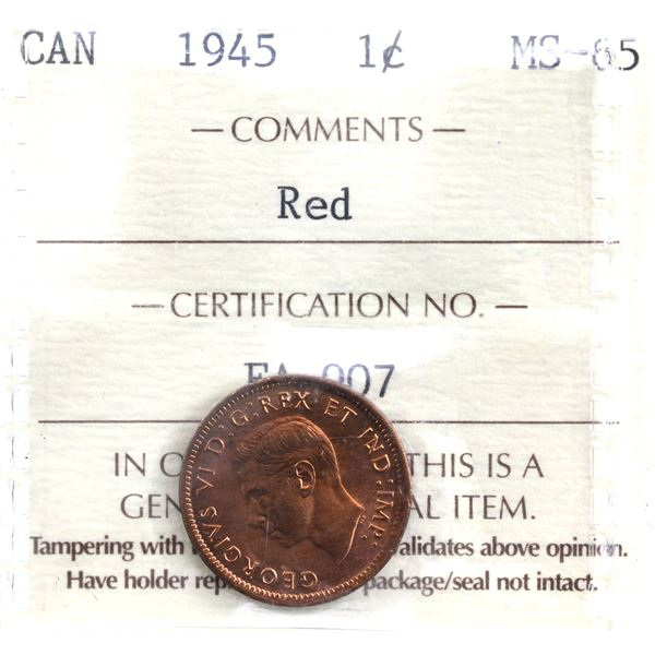 1-cent 1945 ICCS Certified MS-65 Red. A natural deep cherry red! Low Pop!