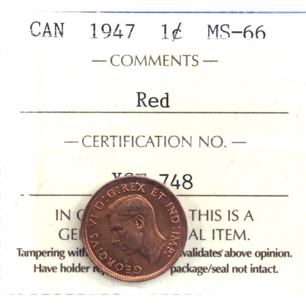 1-cent 1947 ICCS Certified MS-66 Red. Nice full 100% red coin with choice eye appeal.