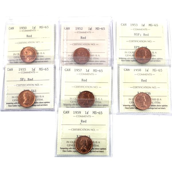 1-cent 1950, 1952, 1953 NSF, 1955 SF, 1957, 1958 & 1959 ICCS Certified MS-65 Red. 7pcs