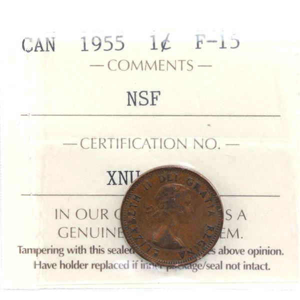 1-cent 1955 NSF ICCS Certified F-15 *SCARCE*