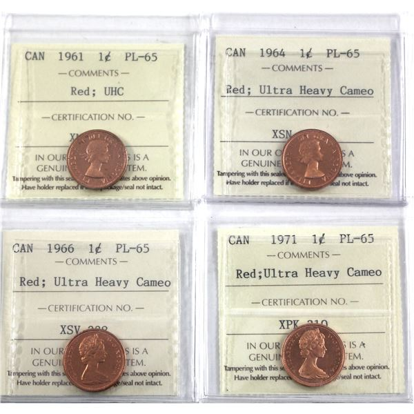 1-cent 1961, 1964, 1966 & 1971 ICCS Certified PL-65 Ultra Heavy Cameo. 4pcs