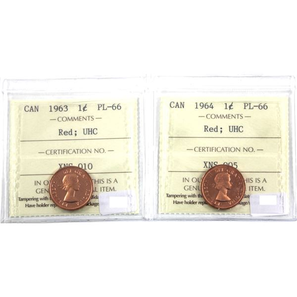1-cent 1963 & 1964 ICCS Certified PL-66 Red Ultra Heavy Cameo. 2pcs