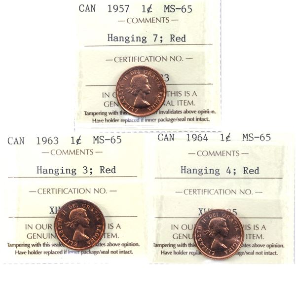 1-cent Lot 3x Hanging Varieties All ICCS Certified MS-65 Red! Lot includes: 1964 Hanging 4, 1963 Han