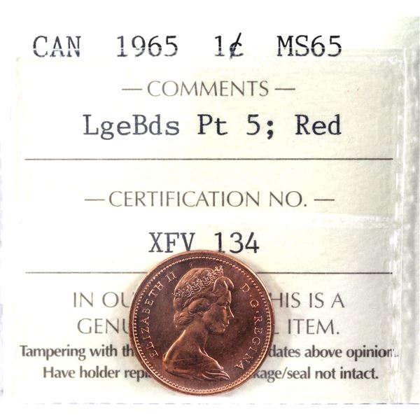 1-cent 1965 Large Beads Pointed 5 ICCS Certified MS-65 Red.
