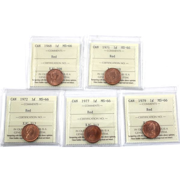 1-cent 1968, 1971, 1972, 1977 & 1979 ICCS Certified MS-66 Red. 5pcs