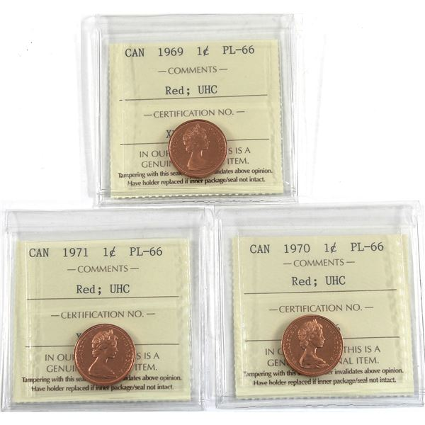 1-cent 1969, 1970, & 1971 ICCS Certified PL-66 Ultra Heavy Cameo. 3pcs