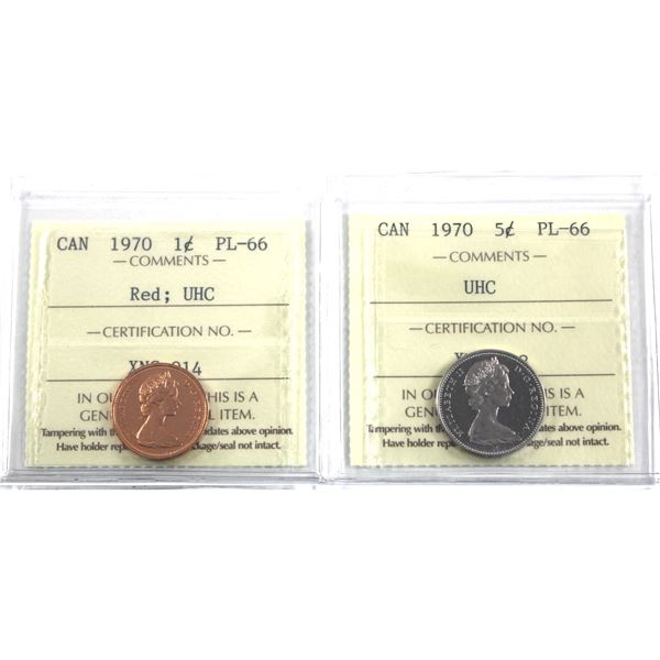 1-cent Red & 5-cent 1970 ICCS Certified PL-66 Ultra Heavy Cameo. 2pcs
