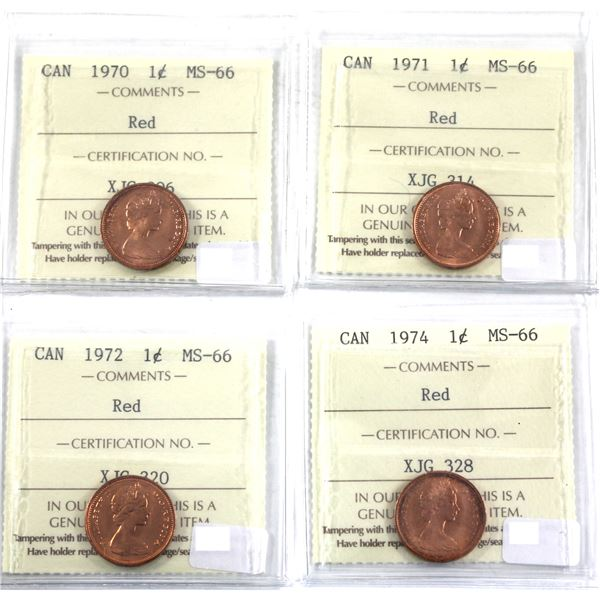 1-cent 1970, 1971, 1972, 1974 All ICCS Certified MS-66 Red. All deep cherry red coins with great eye