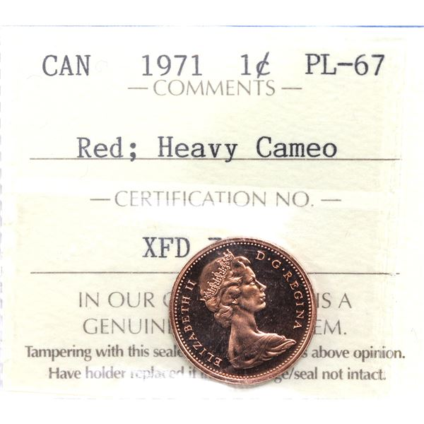 1-cent 1971 ICCS Certified PL-67 Red Heavy Cameo.