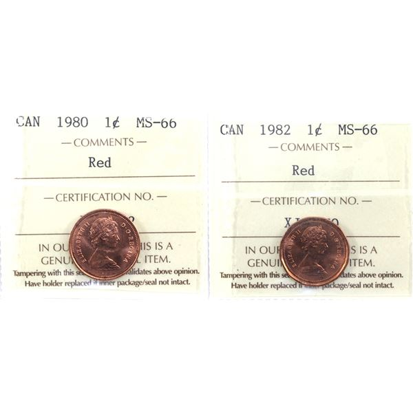 1-cent 1980 & 1982 ICCS Certified MS-66 Red. 2pcs