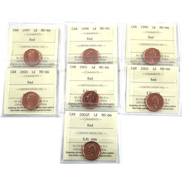 1-cent 1997-2002 & 2002P ICCS Certified MS-66 Red. 7pcs