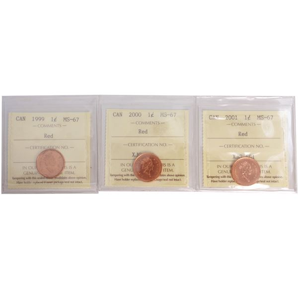 1-cent 1999, 2000, 2001 ICCS Certified MS-67 Red. TOP GRADES! 3pcs