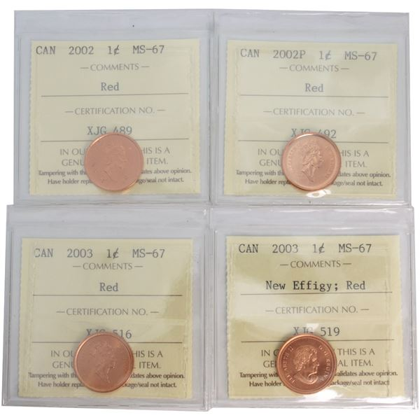 1-cent 2002, 2002P, 2003 Old Effigy & 2003 New Effigy ICCS Certified MS-67 Red. TOP GRADES! 4pcs