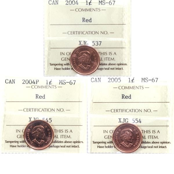1-cent 2004, 2004P, & 2005 All ICCS Certified MS-67 Red. TOP GRADES! 3pcs